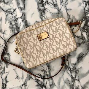 MK White & Grey Monogram Crossbody Bag 👜